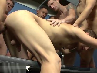 boys Bukkake Boys - Twink gets barebacked at an obstacle gym bukkake